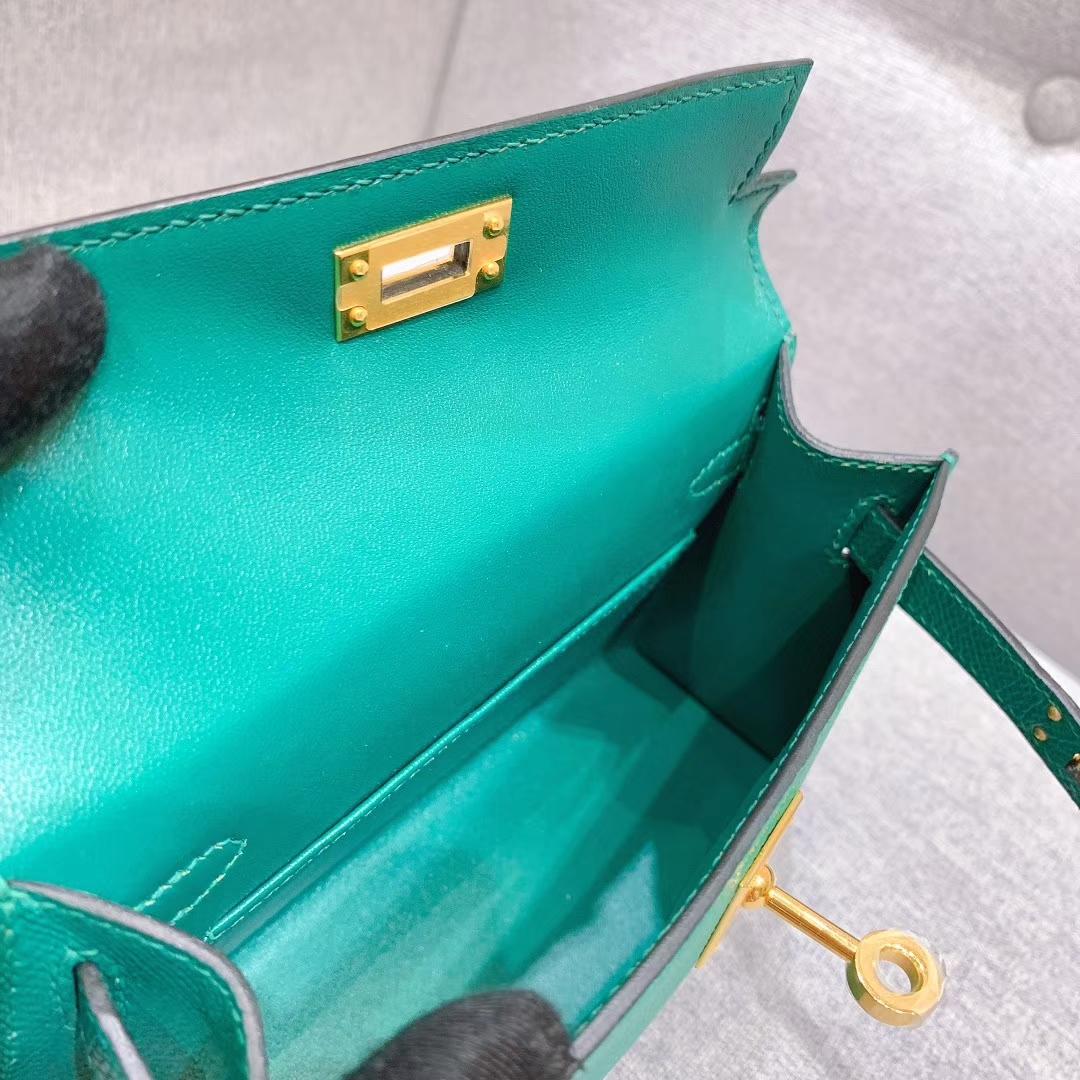 爱马仕批发 Mini Kelly二代 19cm Epsom Z6孔雀绿 金-银扣 蜜蜡线手缝