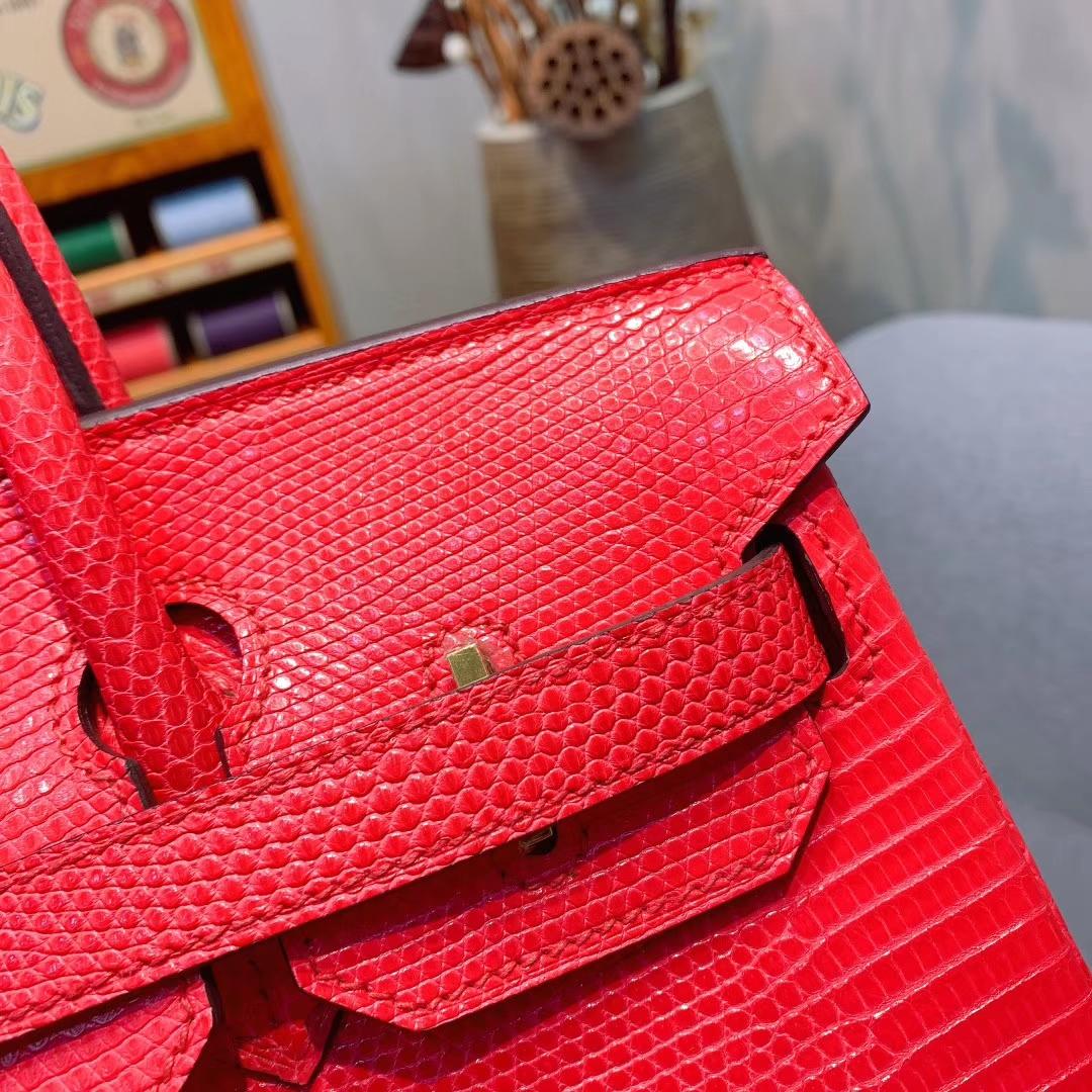 爱马仕包包 Birkin 30cm Lizard东南亚原产蜥蜴 I6极致粉 金扣 蜜蜡线全手缝
