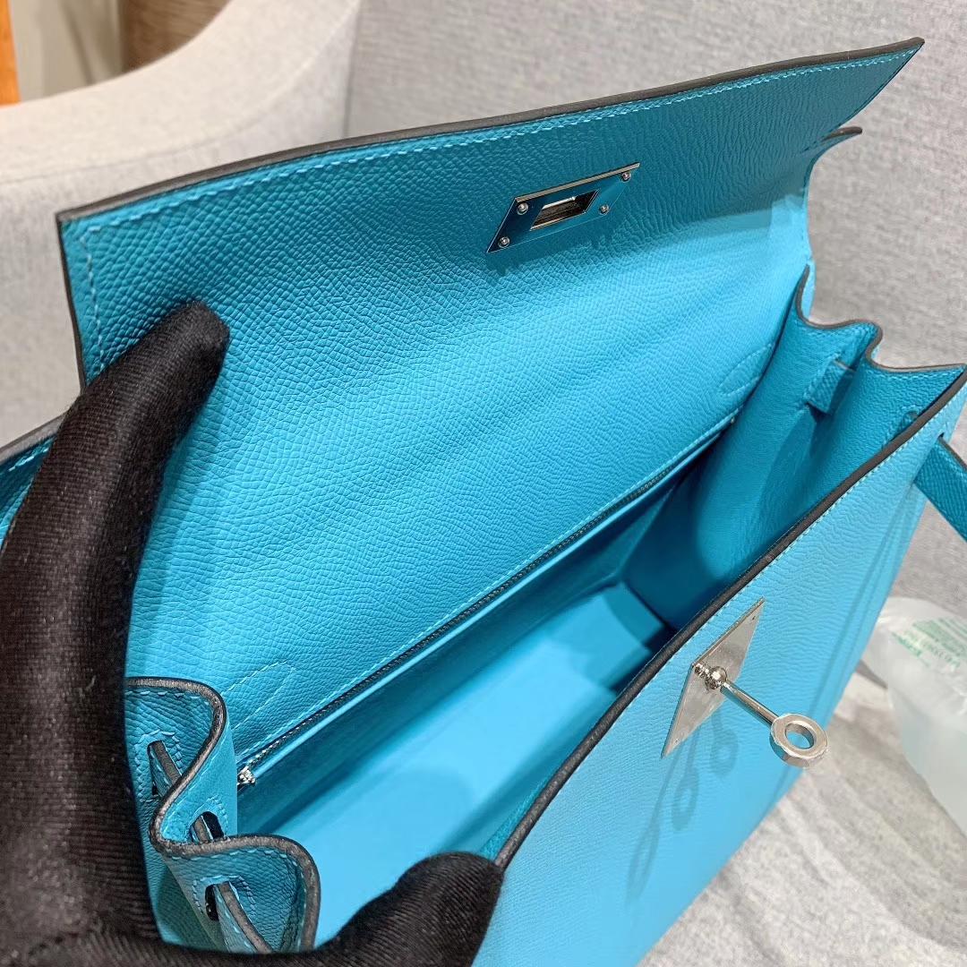 爱马仕厂家 Kelly 28cm Epsom P3北方蓝 银扣