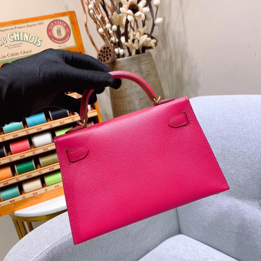 爱马仕批发 Mini Kelly二代 19cm Epsom I6极致粉 金扣 蜜蜡线手缝