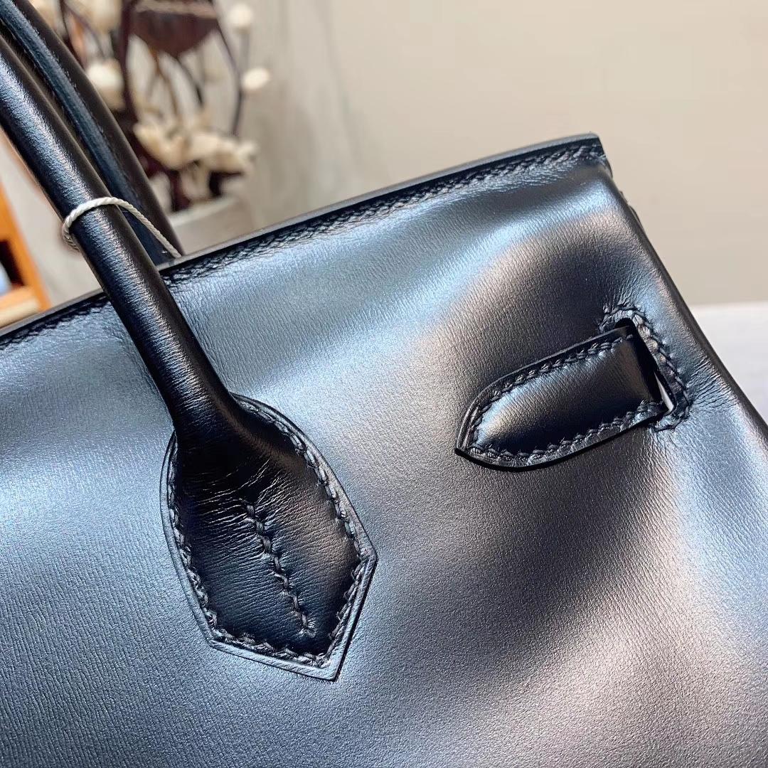 Hermes铂金包 Birkin 30cm Box 89黑色 钻扣 全手缝蜡线