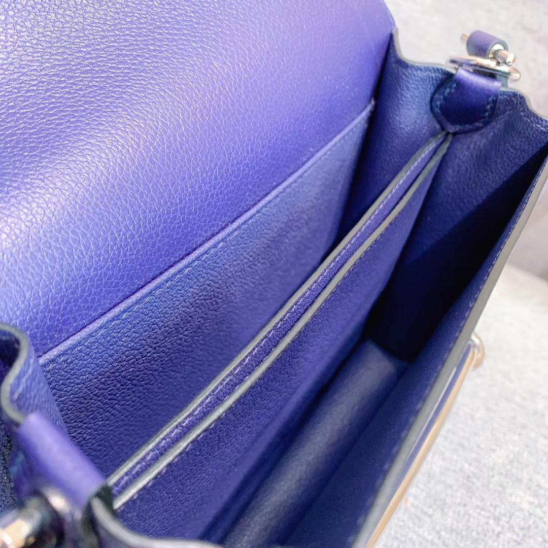 Hermes包包批发 Roulis Mini 19cm Evercolor M3水墨蓝 银扣