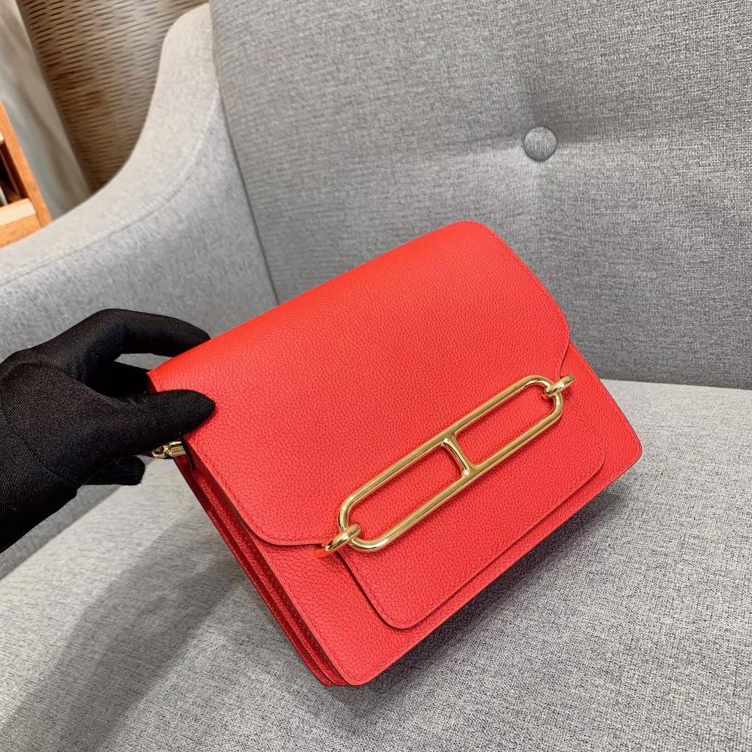 Hermes包包批发 Roulis Mini 19cm Evercolor S3心红色 金扣