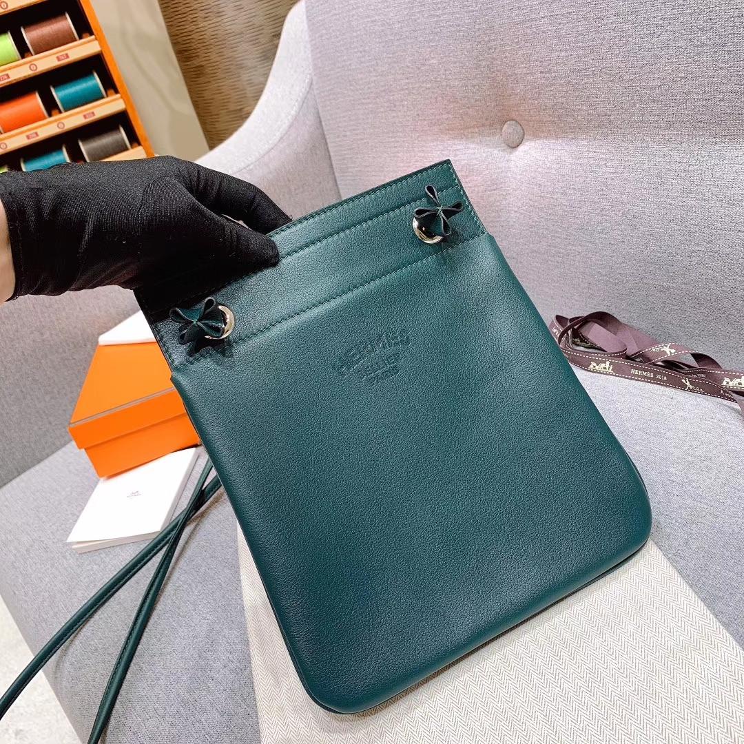 Hermes包包厂家 Aline Mini Swift 6O松柏绿 原产皮 珍品开模 一模一样