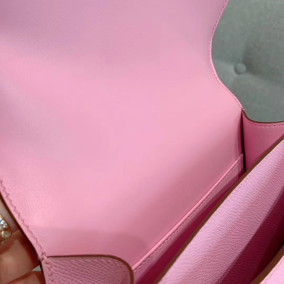 爱马仕空姐包 Constance 19cm Epsom X9锦葵紫 银扣