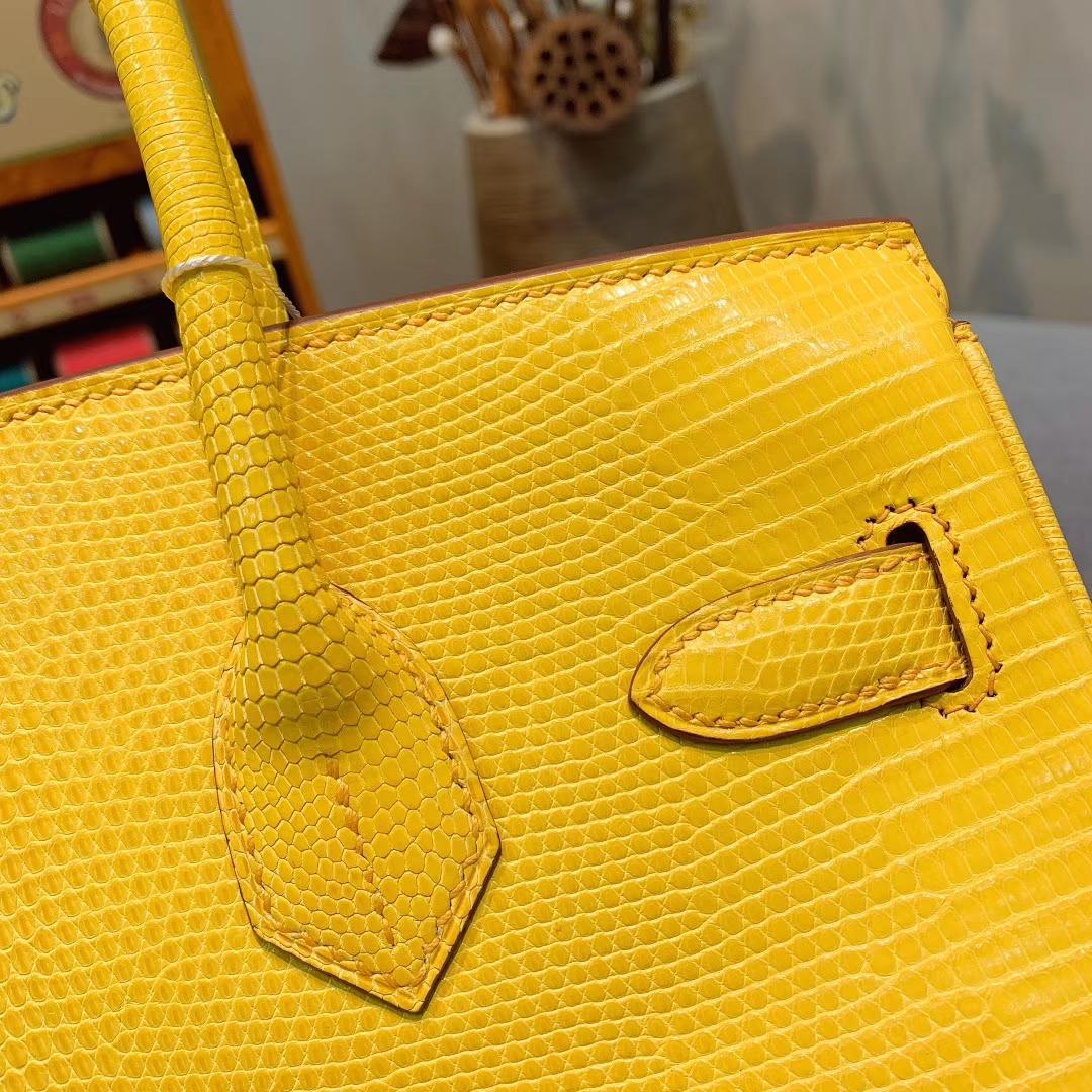 爱马仕包包 Birkin 30cm Lizard东南亚原产蜥蜴 9H亮黄色 橙线 金扣 蜜蜡线全手缝