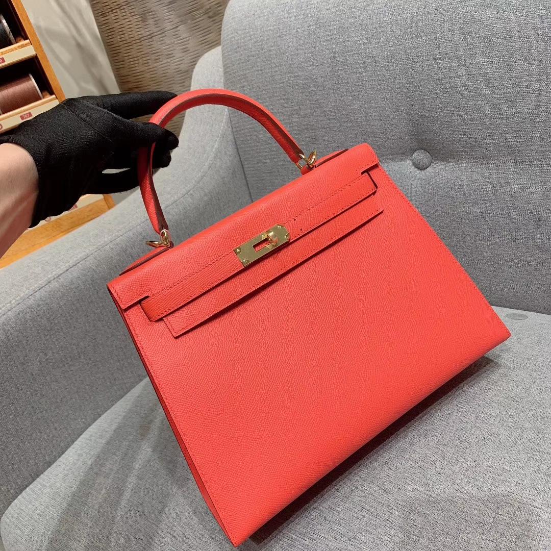 爱马仕厂家 Kelly 28cm Epsom S5番茄红 金扣