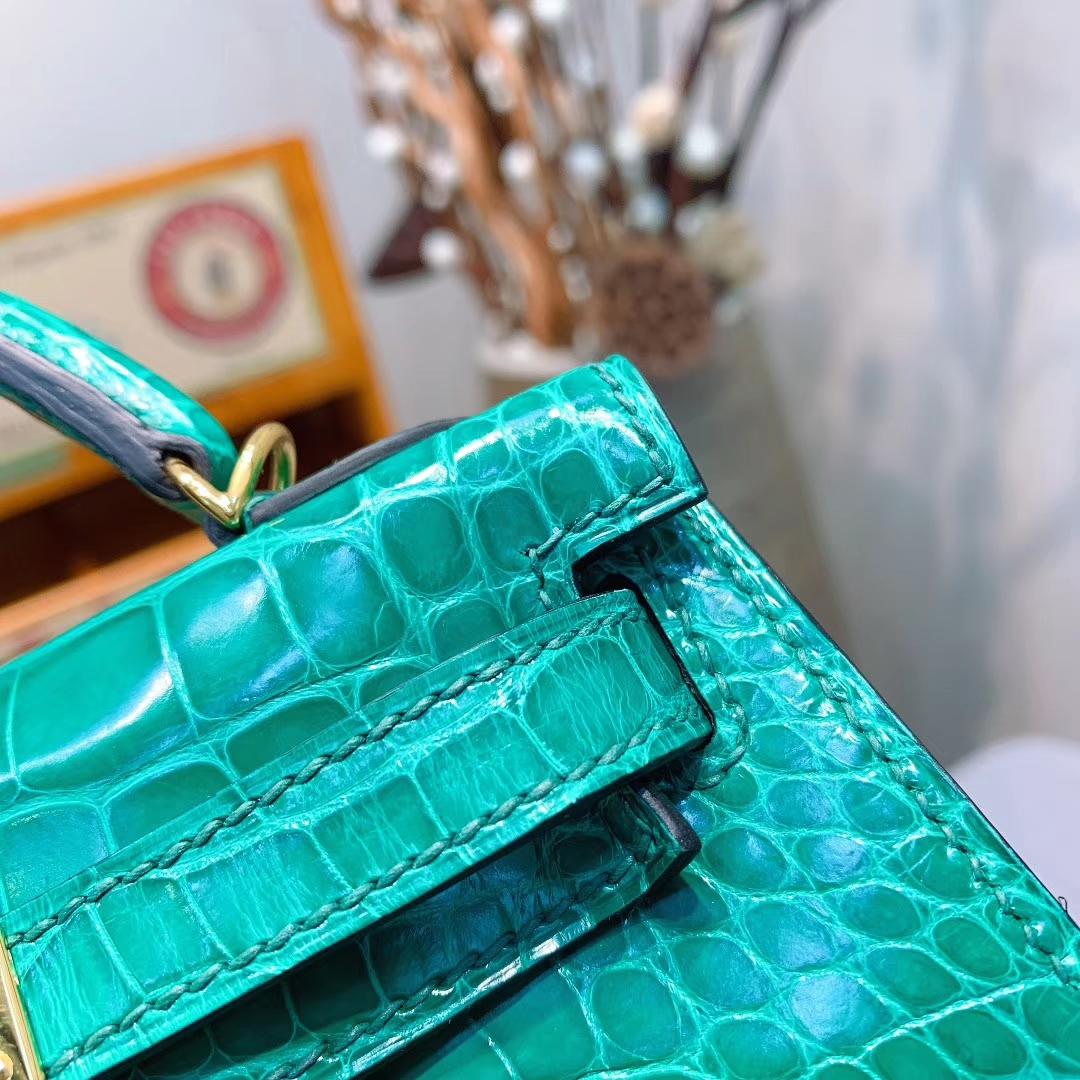 Hermes爱马仕 Mini Kelly2代 19cm Alligator Crocodile 亮面方块美洲鳄 6Q翡翠绿 金扣
