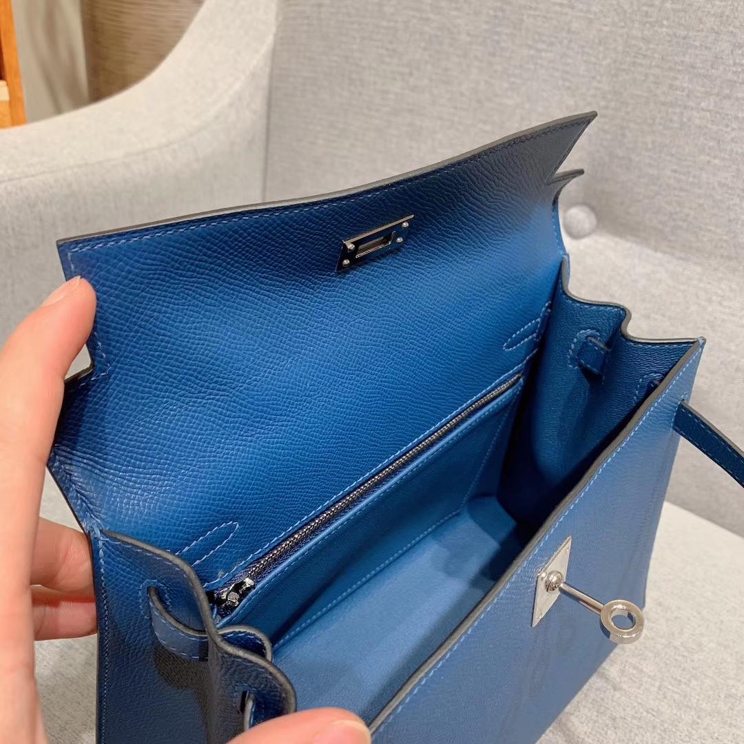 爱马仕凯丽包 Kelly 25cm Epsom S4深邃蓝 银扣