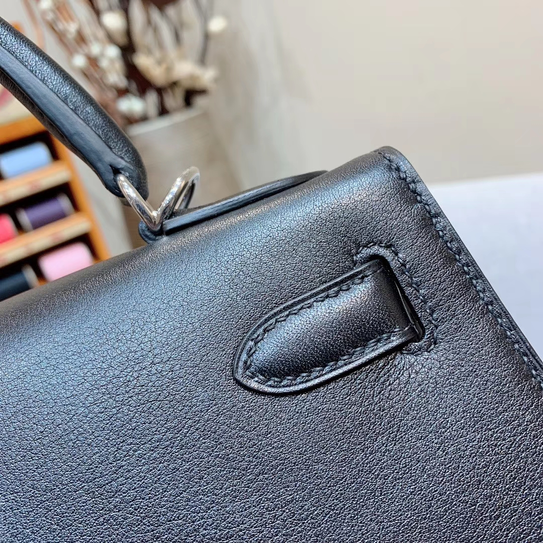 Hermes凯丽包 Kelly 28cm Swift 89黑色 银扣 全手缝蜡线