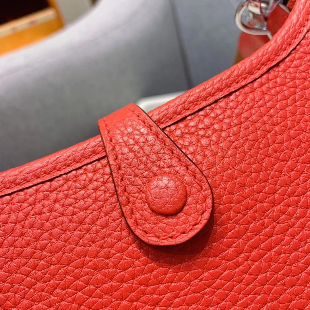 爱马仕包包工厂 Evelyn 17cm S5番茄红