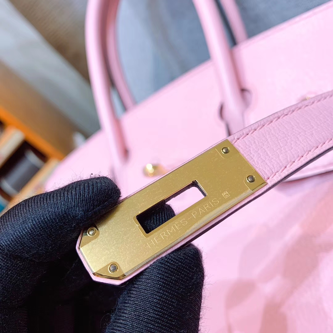 Hermes铂金包 Birkin 30cm Chevre山羊 3Q芭比粉 金扣 全手缝蜡线