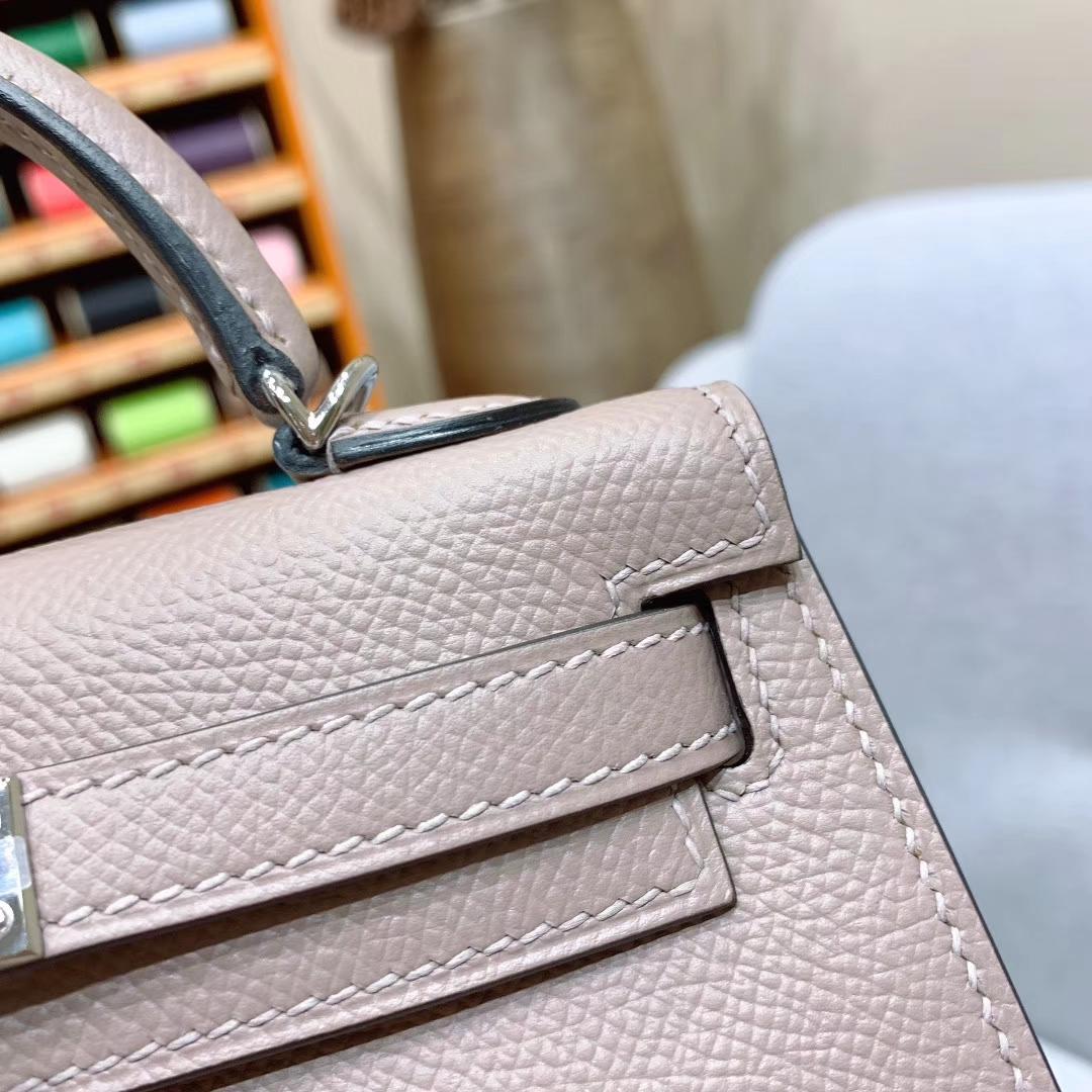 爱马仕批发 Mini Kelly二代 19cm Epsom M8沥青灰 银扣 蜜蜡线手缝