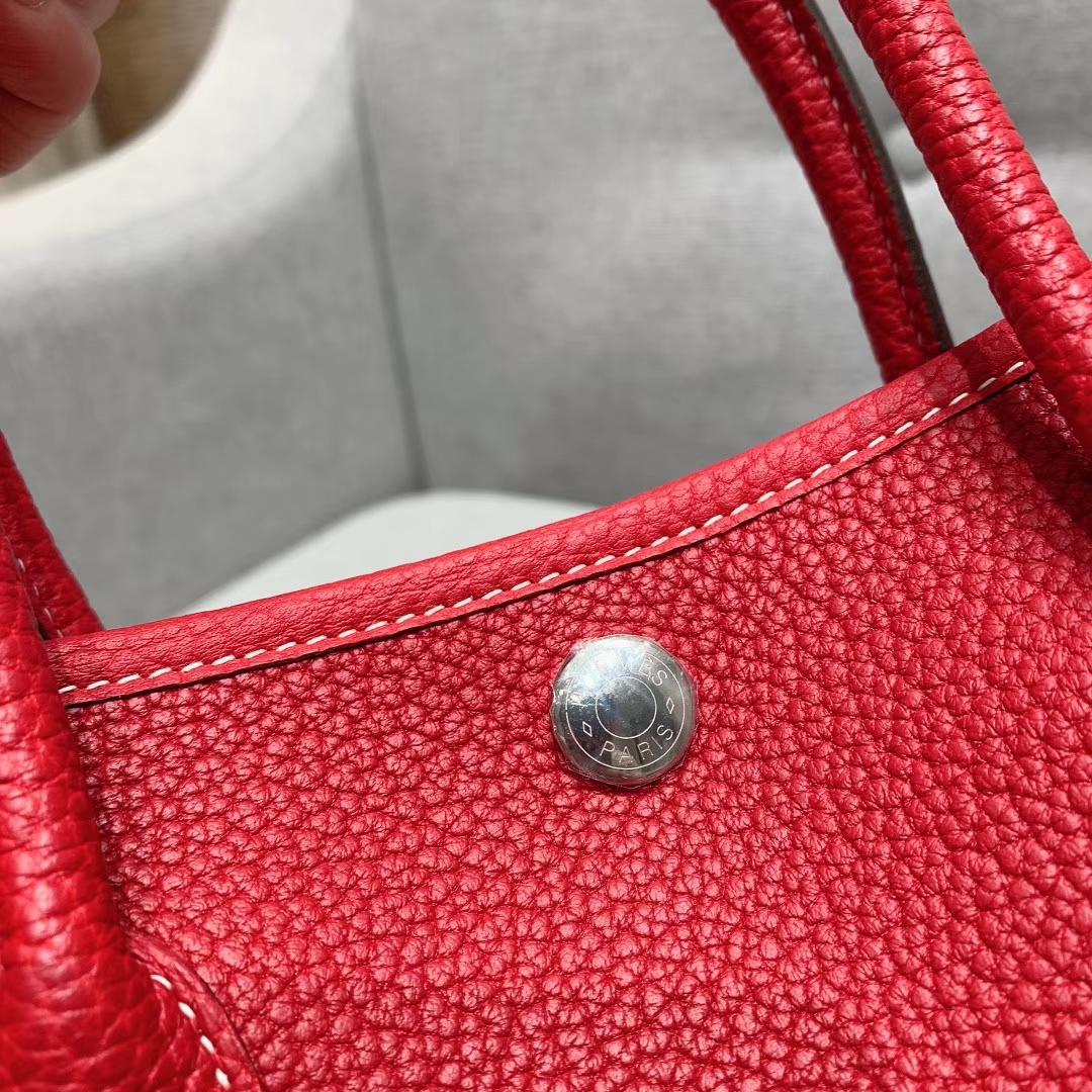 爱马仕包包 Garden Party 30cm Negonda Q5中国红 银扣