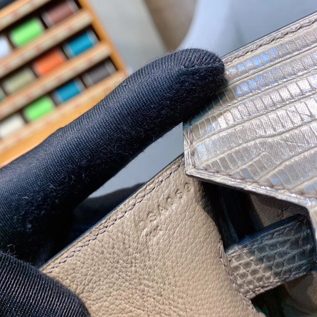 爱马仕包包 Birkin 30cm Lizard东南亚原产蜥蜴 18大象灰 银扣 蜜蜡线全手缝