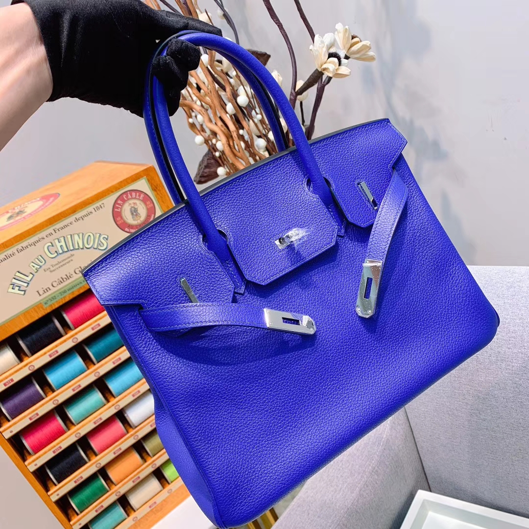 爱马仕工厂 Birkin 30cm Togo I7琉璃蓝 银扣