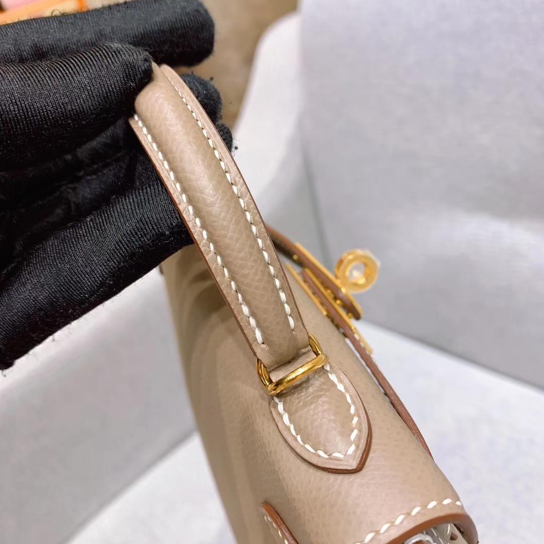 爱马仕批发 Mini Kelly二代 19cm Epsom 18大象灰 金-银扣 蜜蜡线手缝