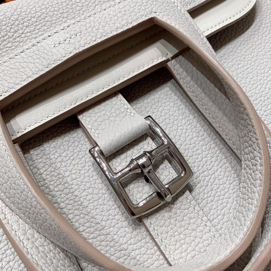 广州爱马仕 Hzlzan 31cm Clemence 80珍珠灰 银扣