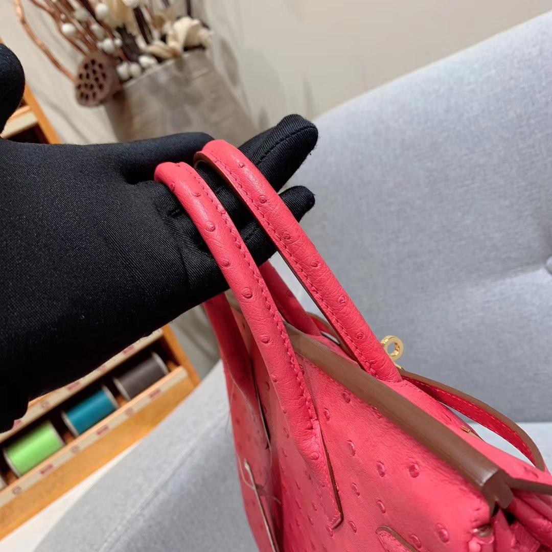 爱马仕包包 Birkin 25cm Ostrich 南非原产KK级鸵鸟皮 I6极致粉 金扣