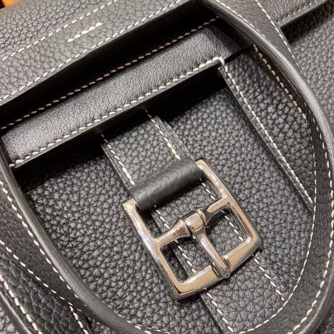 广州爱马仕 Hzlzan 31cm Clemence 89黑色 银扣