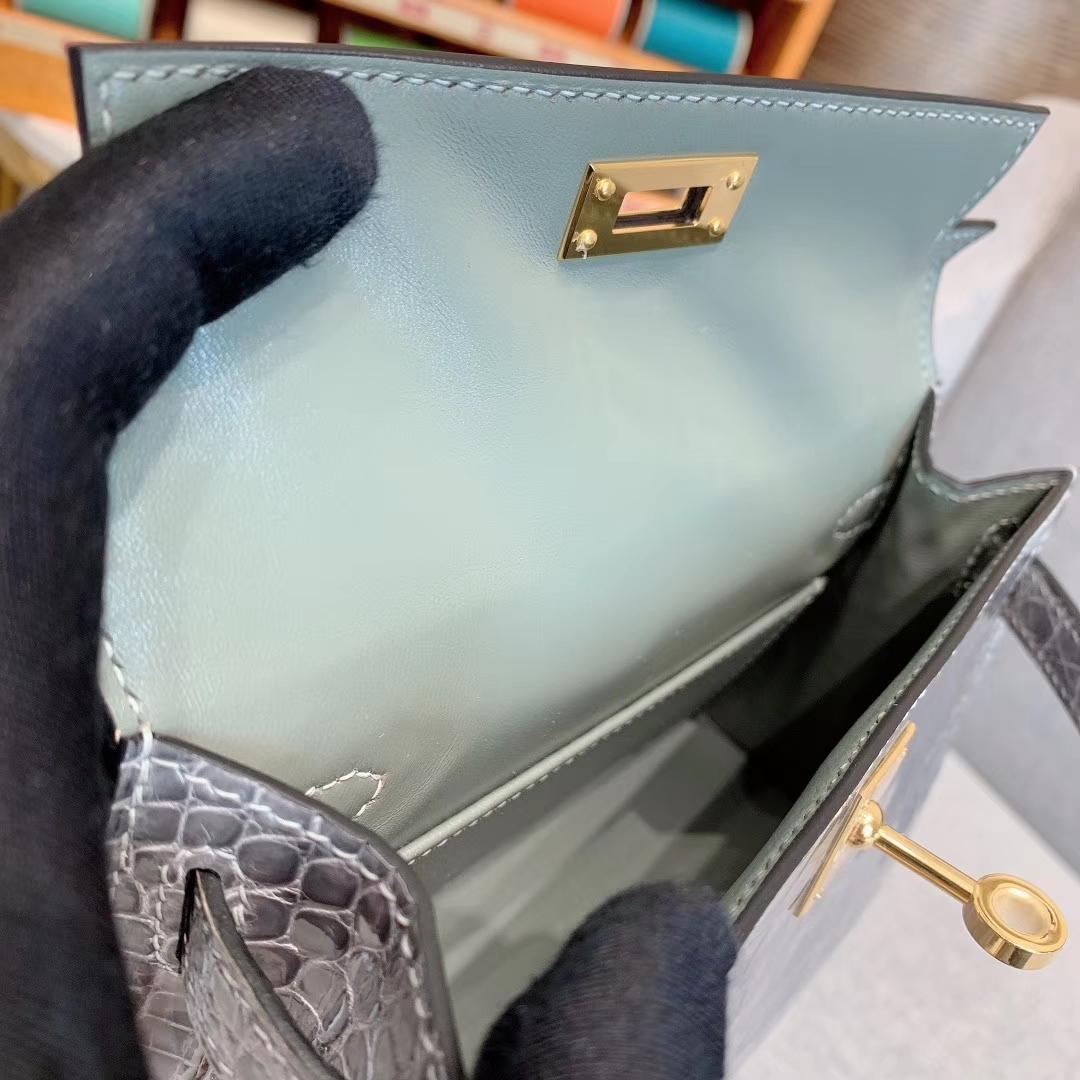 爱马仕包包批发 Mini Kelly 2代 亮面美洲方块鳄 8U冰川灰 金-银扣