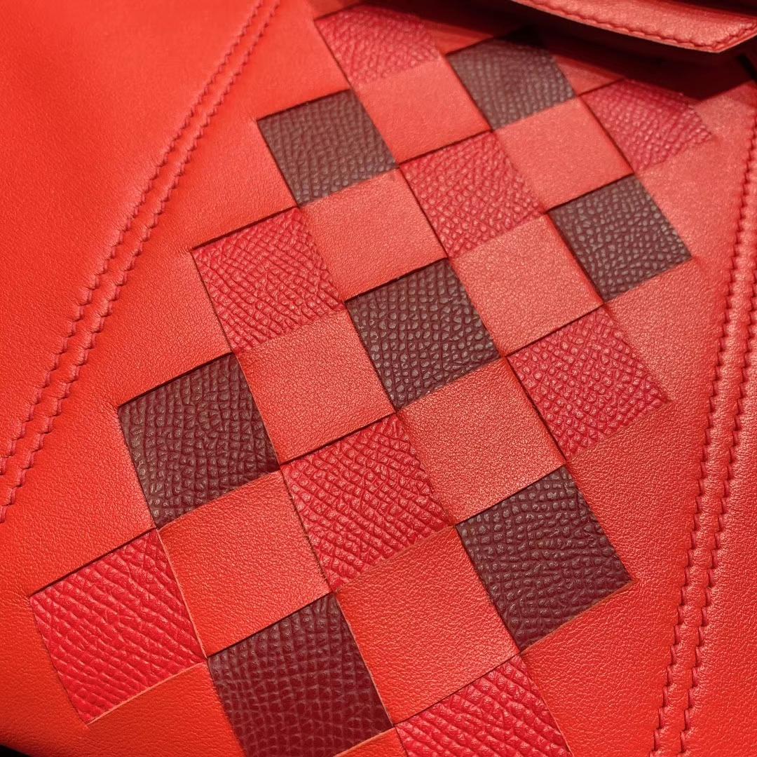 爱马仕包包 Birkin 25cm Swift 法国HASS原产小牛皮 S5番茄红 银扣