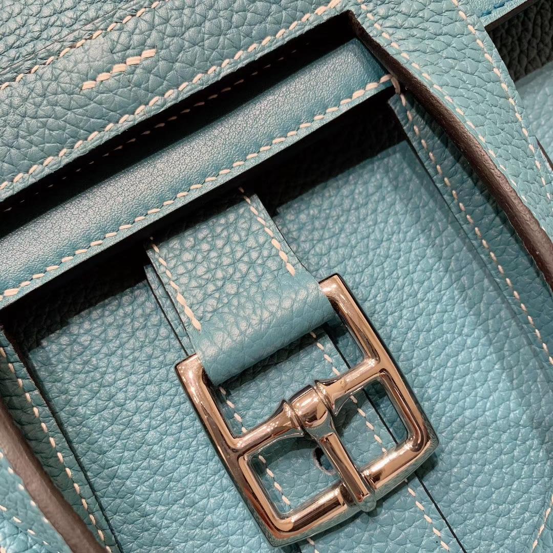 广州爱马仕 Hzlzan 31cm Clemence 75牛仔蓝 银扣