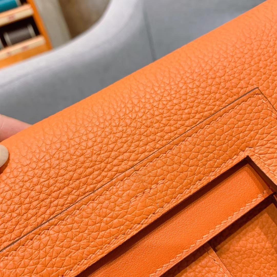 广州爱马仕 Hzlzan 31cm Clemence 93橙色 银扣