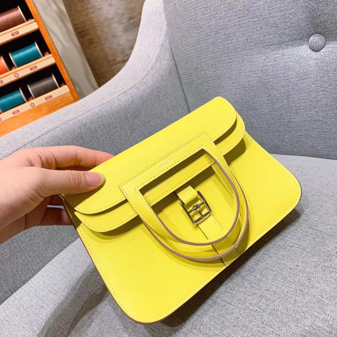 爱马仕包包 Hzlzan Mini Swift 9R柠檬黄 银扣