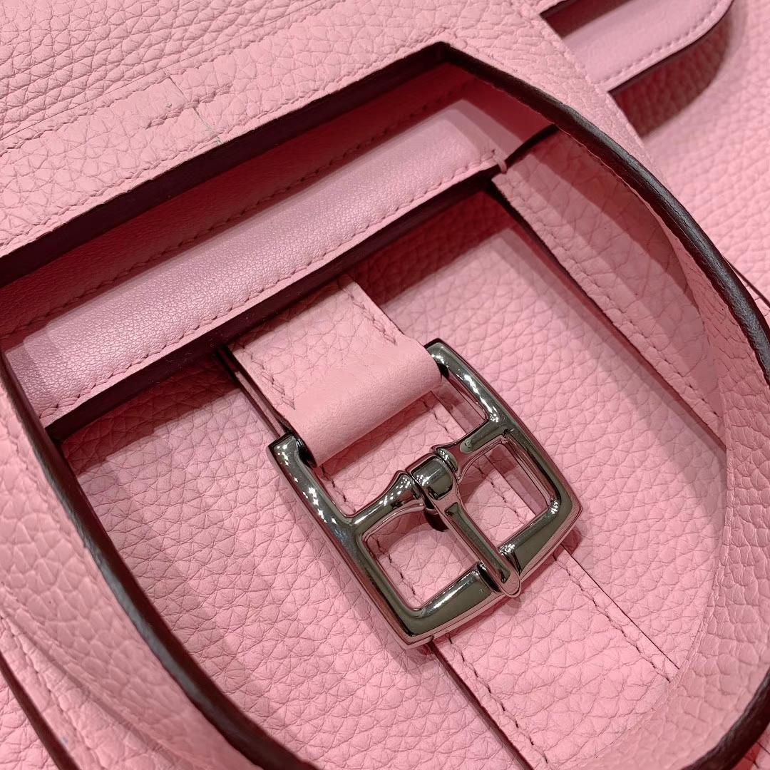 广州爱马仕 Hzlzan 31cm Clemence 3Q芭比粉 银扣