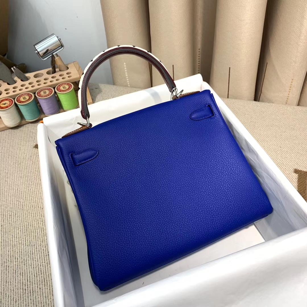 Hermes爱马仕 Kelly 28cm 法国原产Togo 7T电光蓝 银扣 蜜蜂手柄
