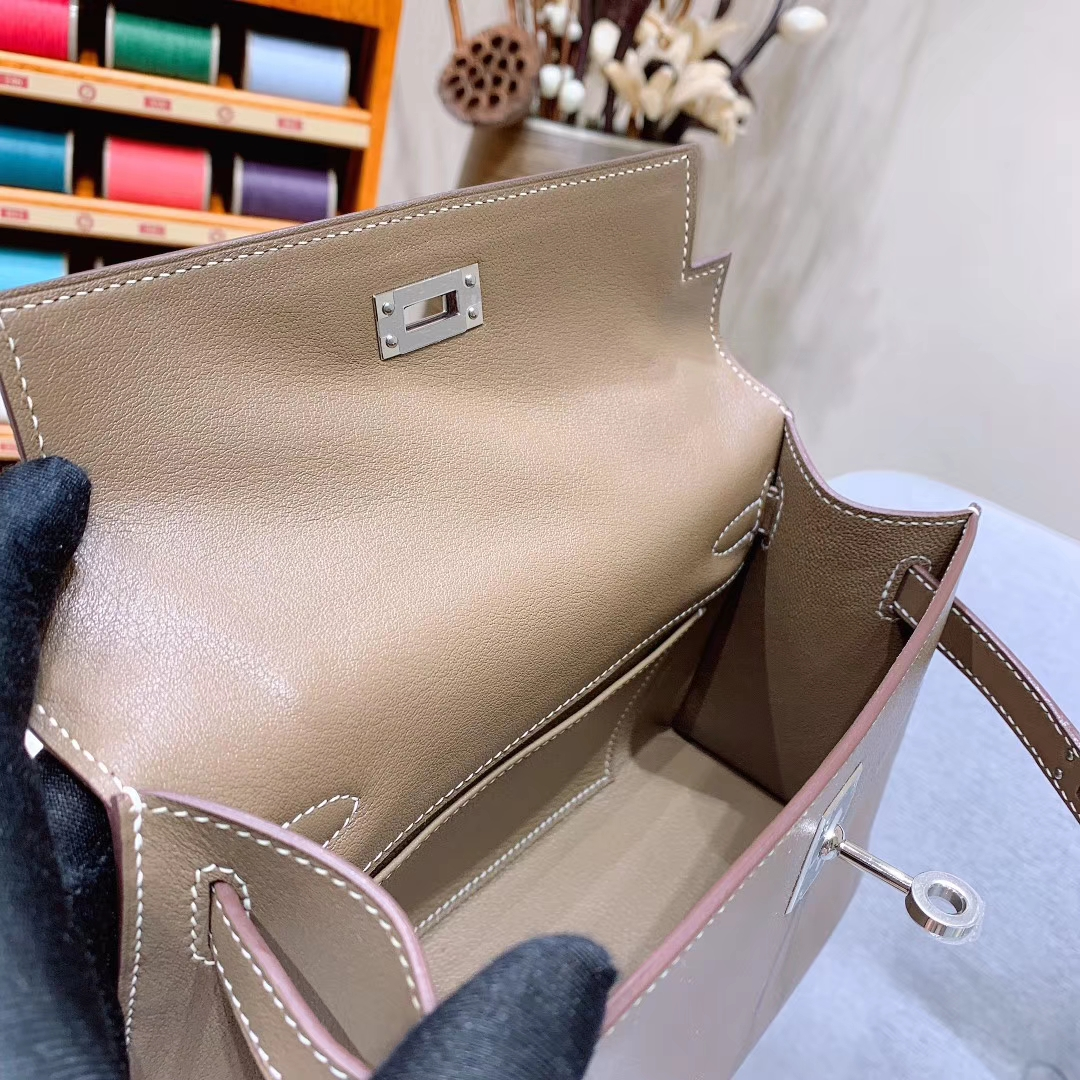 广州爱马仕 Kelly Pochette 1代 Swift 18大象灰 金扣