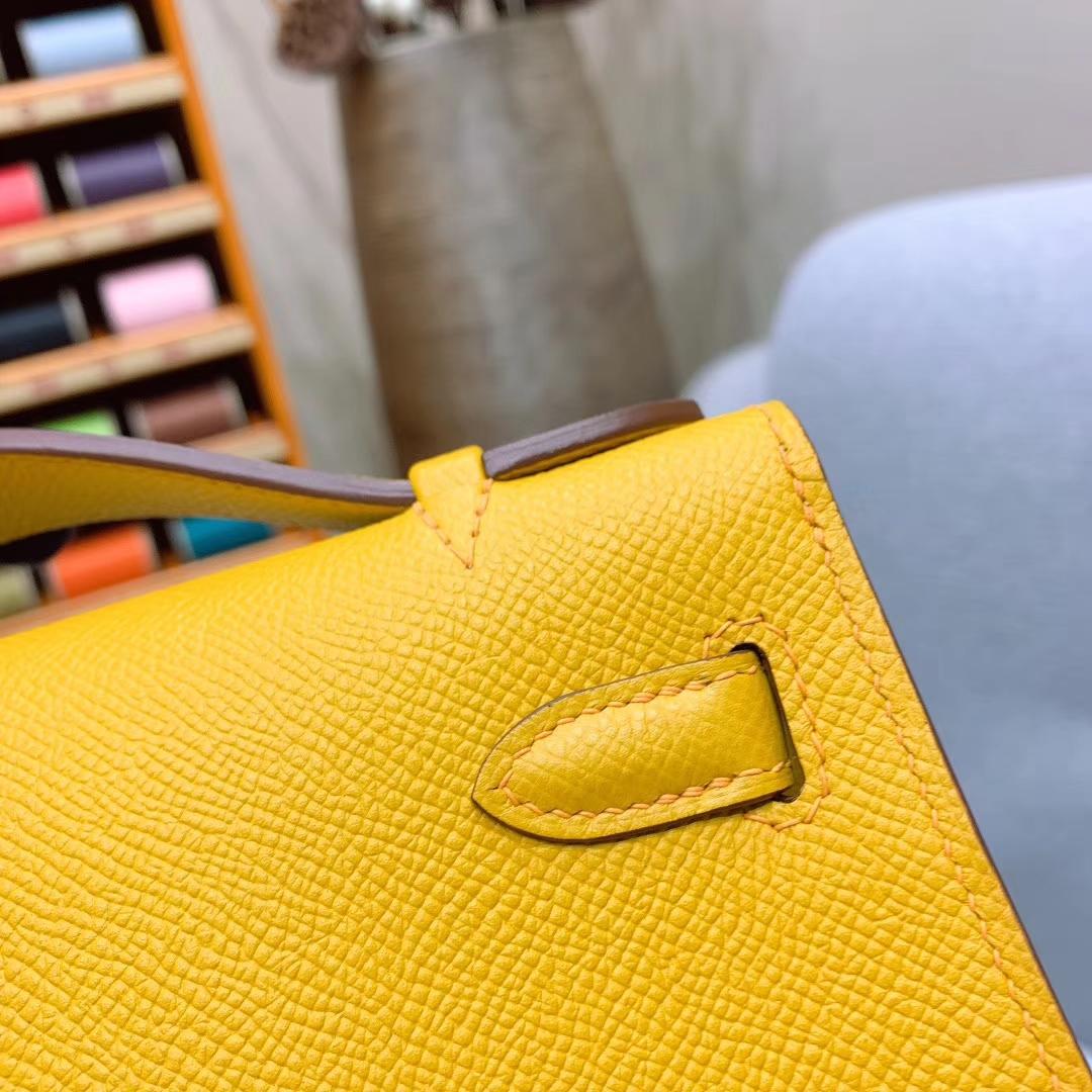 广州爱马仕 Kelly Pochette 1代 Epsom 9D琥珀黄 金扣