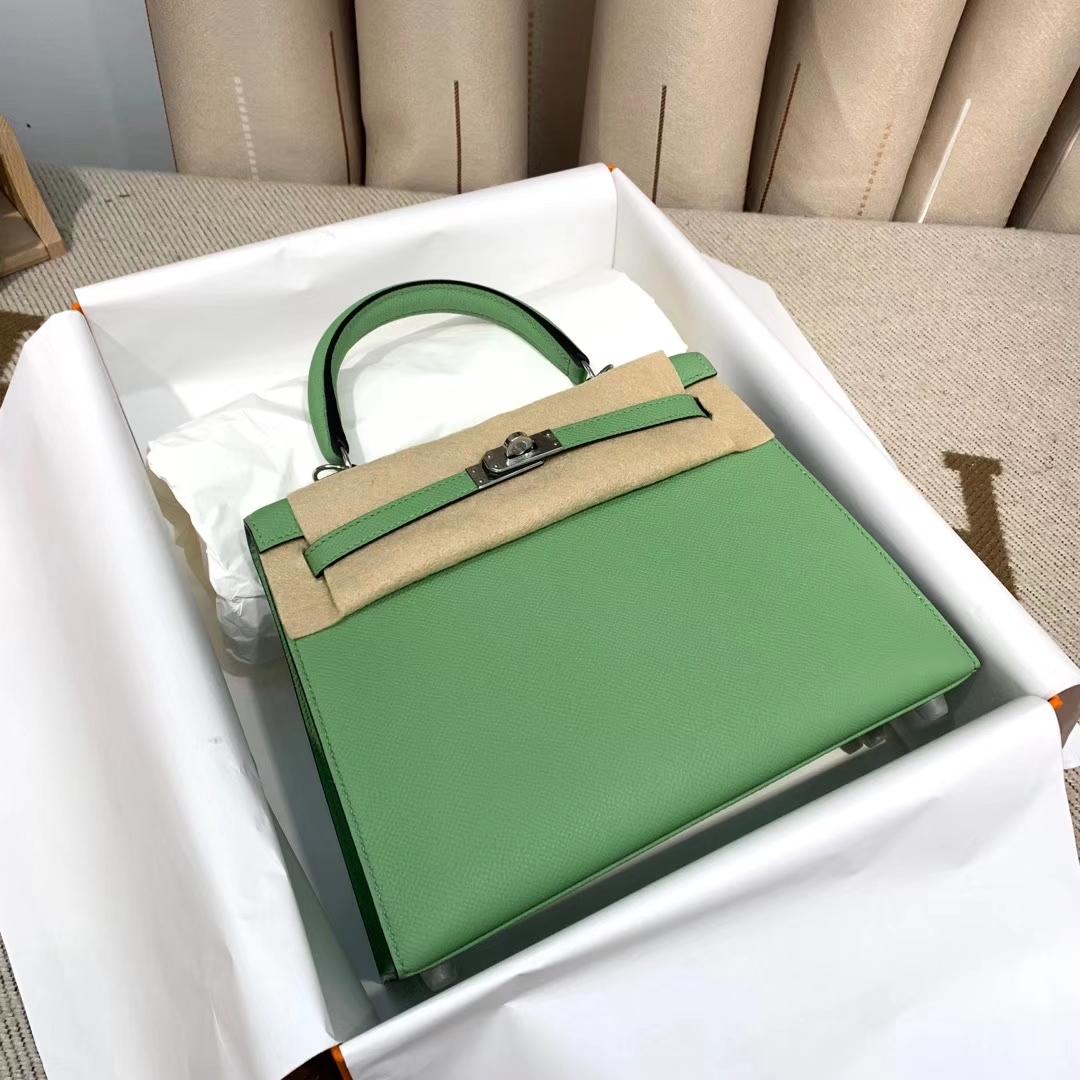 Hermes爱马仕 Kelly 25cm 法国原产Epsom皮 3I牛油果绿 银扣