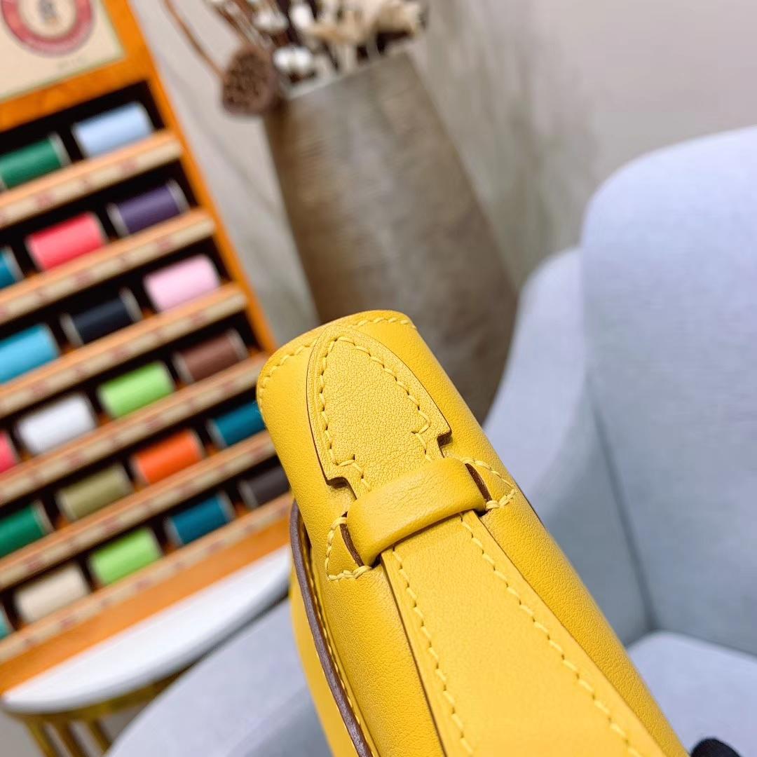 广州爱马仕 Kelly Pochette 1代 Swift 9D琥珀黄 金扣