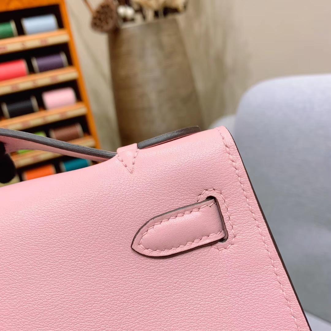 广州爱马仕 Kelly Pochette 1代 Swift 3Q樱花粉 银扣