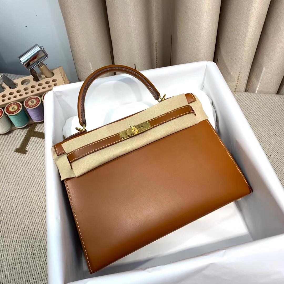 Hermes爱马仕 Kelly 32cm 法国原产马鞍Barenia皮 34原木色 金扣