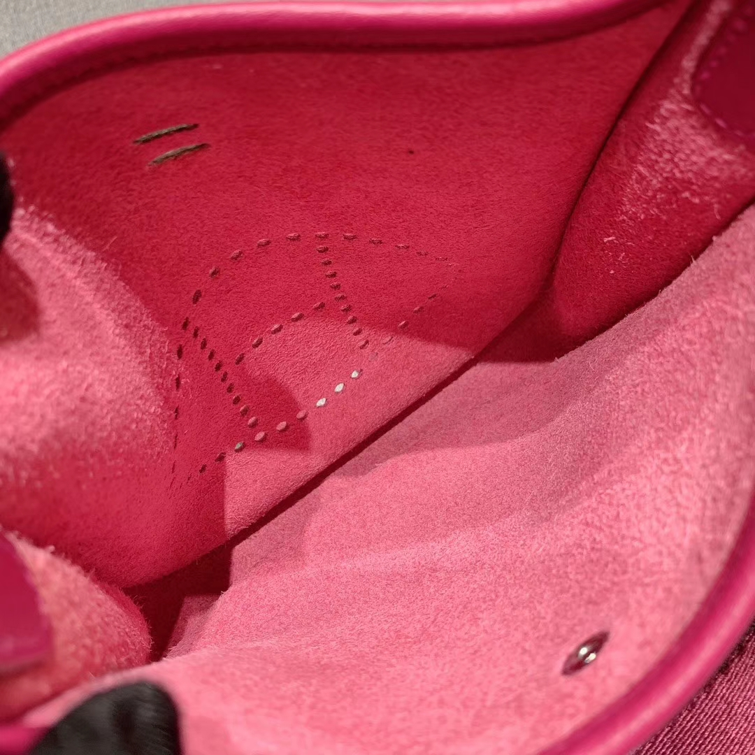 Hermes 17mini Evelyn伊芙琳 法国进口TC皮 玫瑰紫 银扣 蜡线手缝