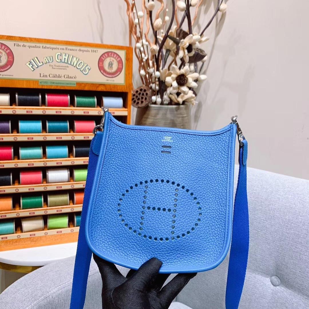 Hermes 17mini Evelyn伊芙琳 法国进口TC皮 坦桑利亚蓝 银扣 蜡线手缝