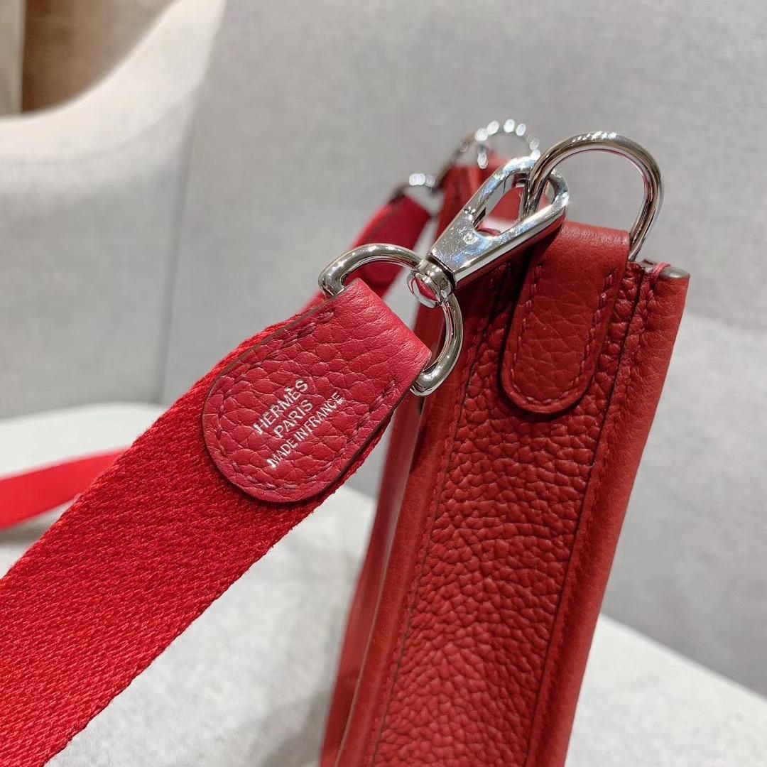 Hermes 17mini Evelyn伊芙琳 法国进口TC皮 波尔多酒红 银扣 蜡线手缝