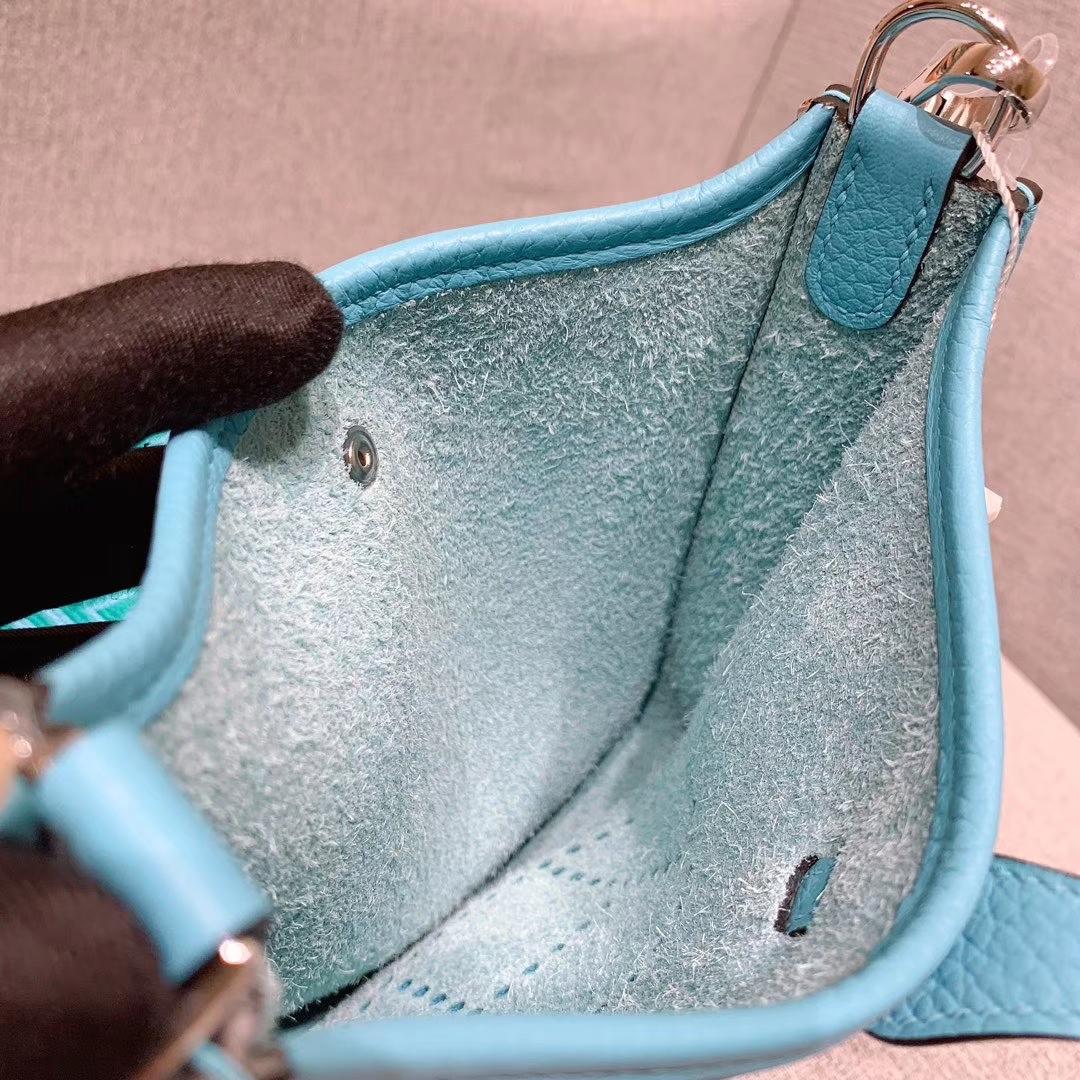 Hermes 17mini Evelyn伊芙琳 法国进口TC皮 北方蓝 银扣 蜡线手缝