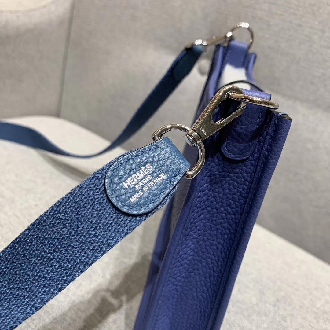 Hermes 17mini Evelyn伊芙琳 法国进口TC皮 玛瑙蓝 银扣 蜡线手缝
