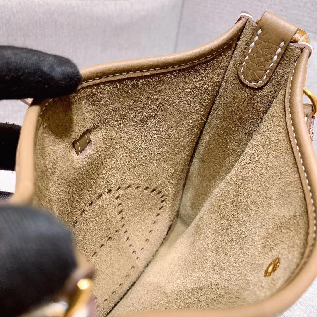 Hermes 17mini Evelyn伊芙琳 法国进口TC皮 大象灰 金扣 蜡线手缝