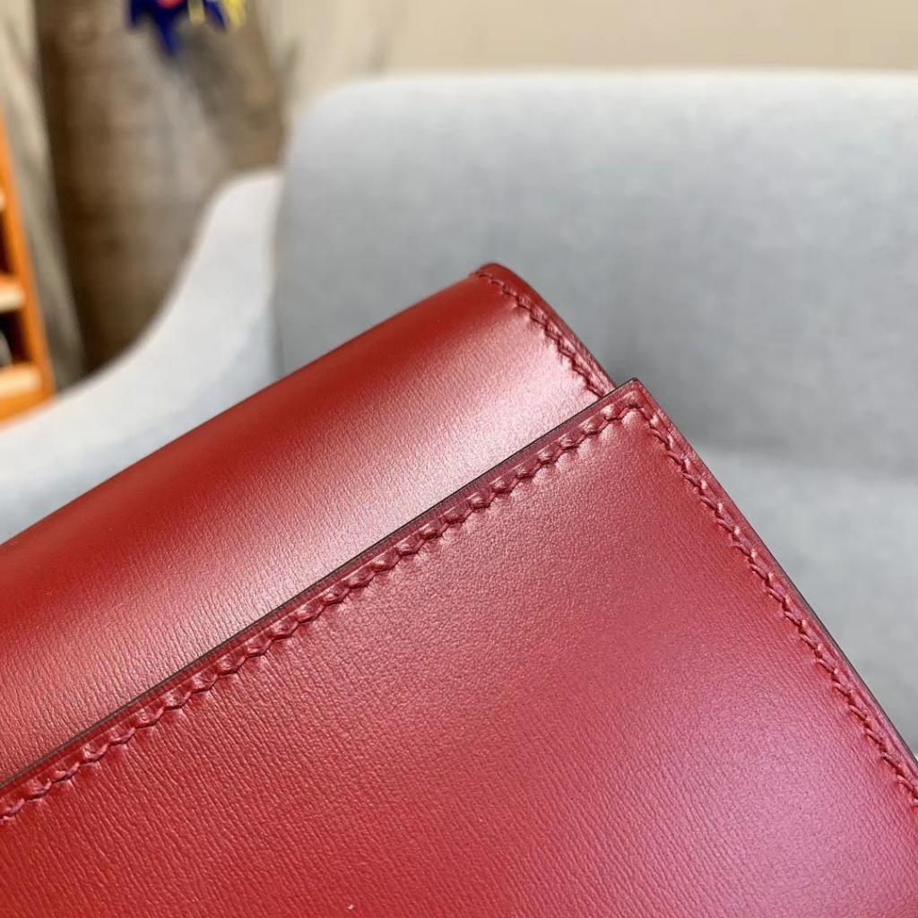 爱马仕包包 CDC手包 BOX皮 酒红 金扣 蜡线手缝