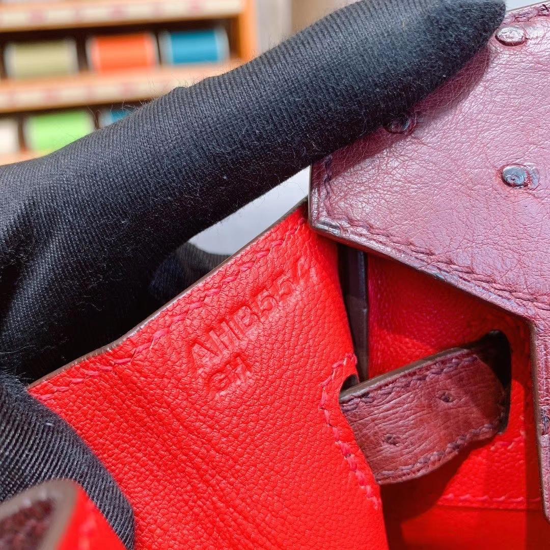 爱马仕铂金包 Birkin 35cm 南非进口原产鸵鸟皮 78号色内拼大红 银扣 全手工蜡线缝制