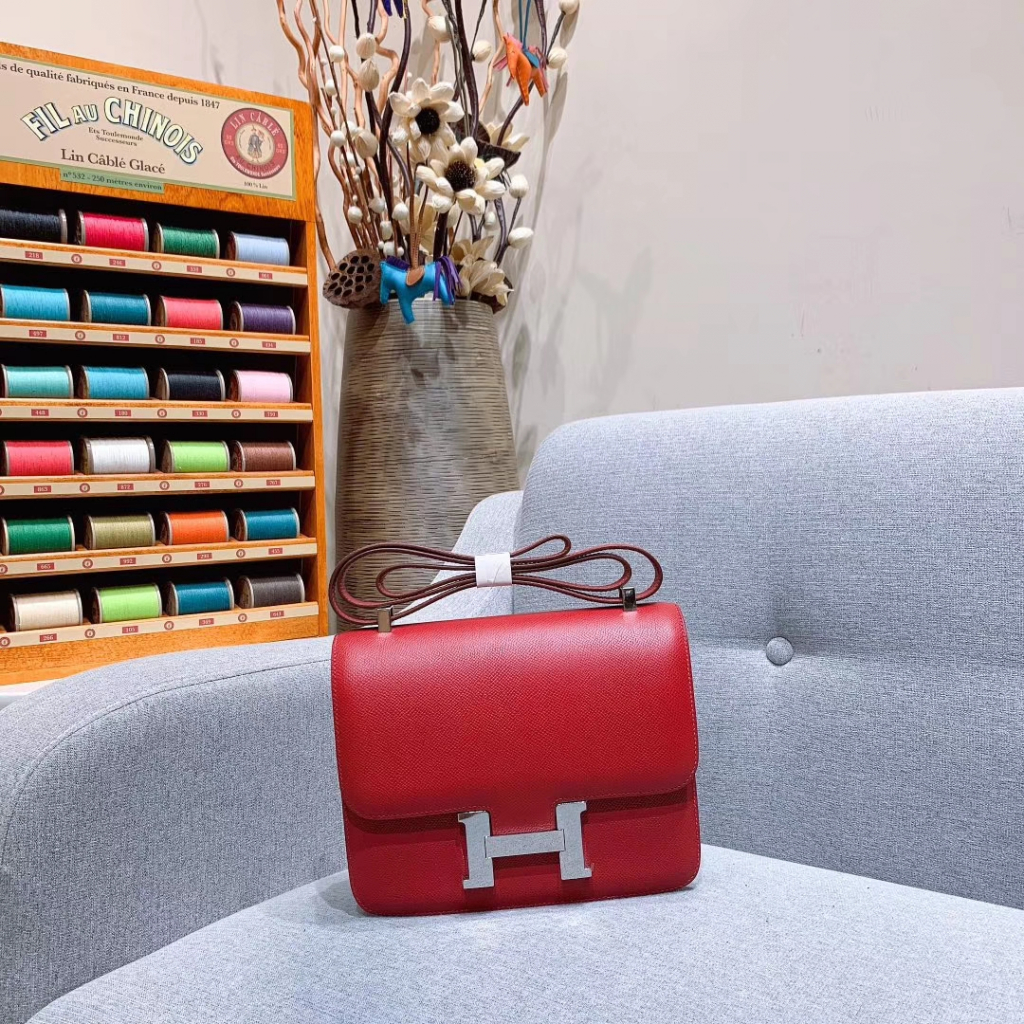 Hermes空姐包 Constance 24cm 原厂法国Epsom皮 宝石红 银扣