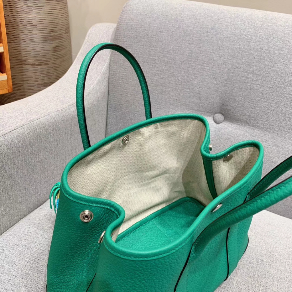 Hermes Garden Party 30cm Negonda U4丝绒绿 银扣