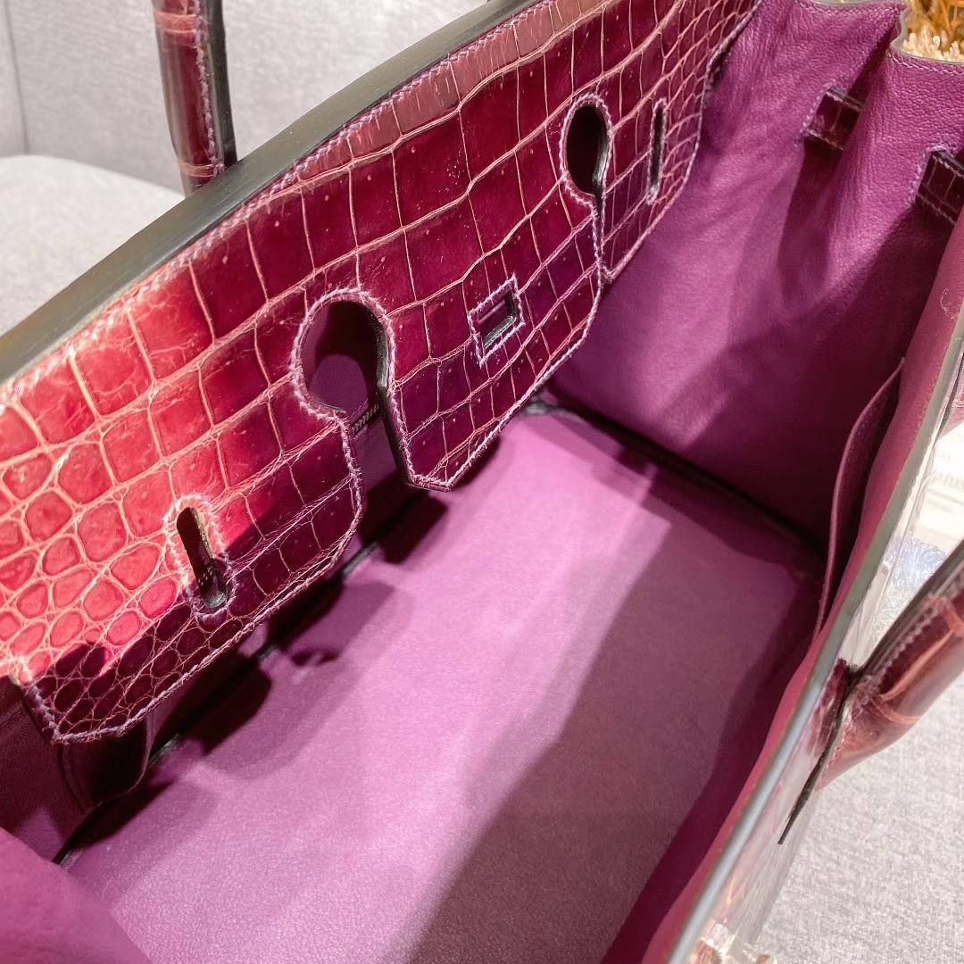 爱马仕铂金包 Birkin 35cm 湾鳄 葡萄紫 银扣 全手工蜡线缝制