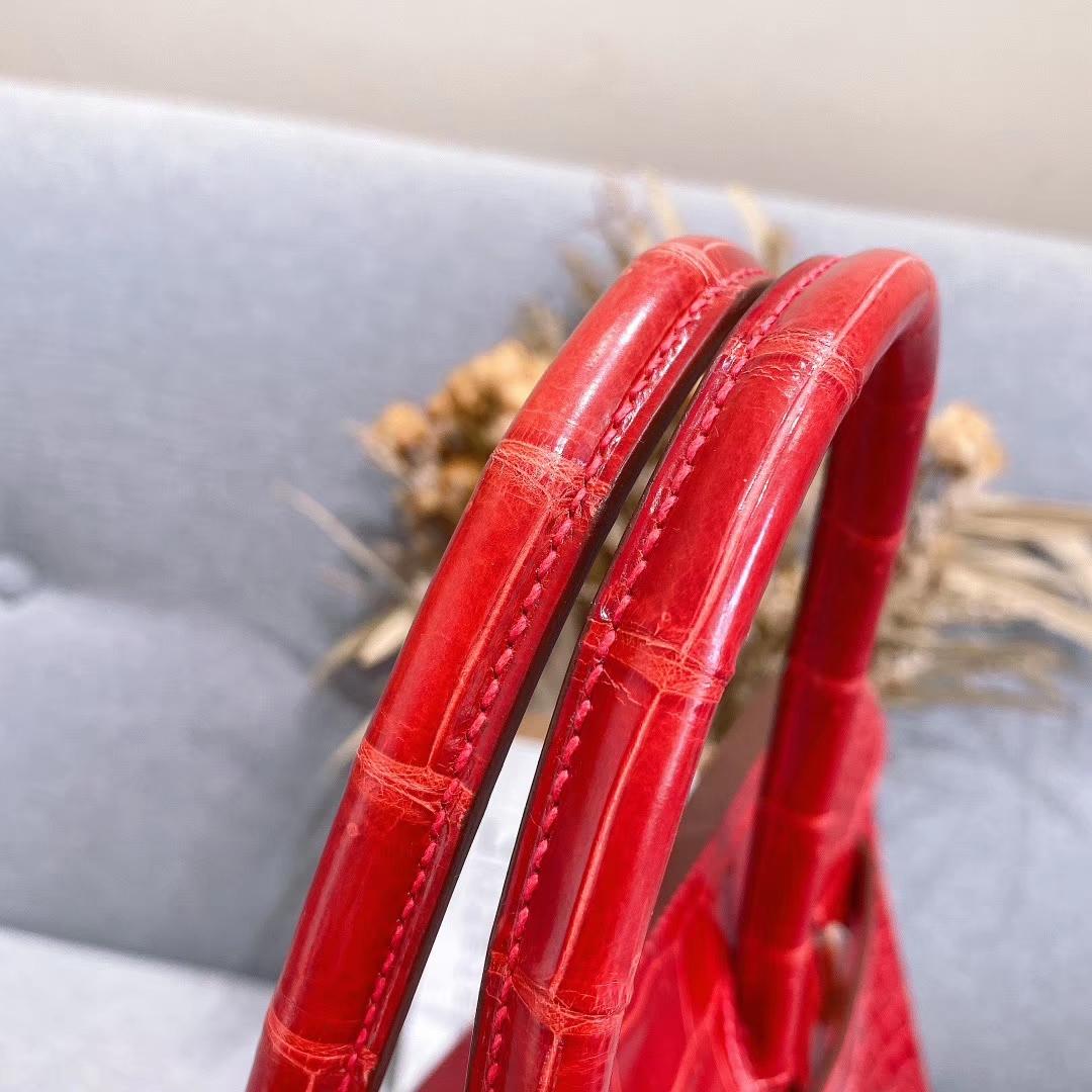 爱马仕铂金包 Birkin 35cm 湾鳄 中国红 金扣 全手工蜡线缝制