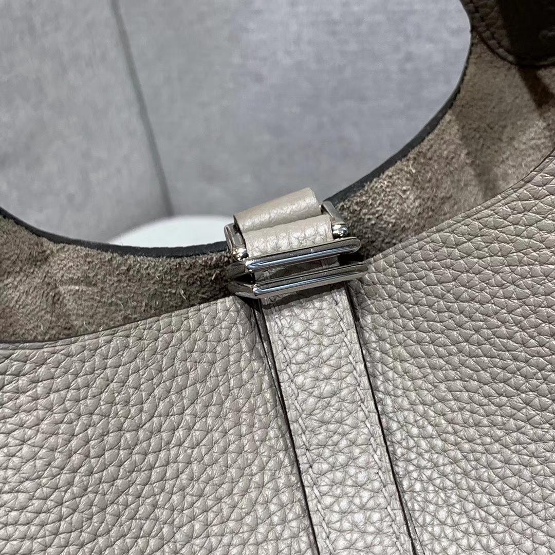 爱马仕Hermes 18cm Picotin菜篮子 法国进口原厂TC皮 海鸥灰 银扣